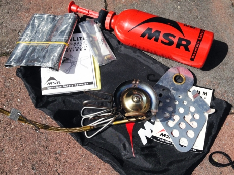 a MSR Wishperlite Multi-Fuel burner, great for life on the road