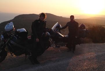 Enjoying the sunset in Assos