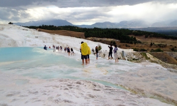 I tried to erase all the tourist from the shots, but at some point surrendered to the fact that Pamukkale is completely overrun by tourists. Instead of giving a distorted view by leaving them out, I decided to actually focus on the real atmosphere and offer the real Pamukkale experience