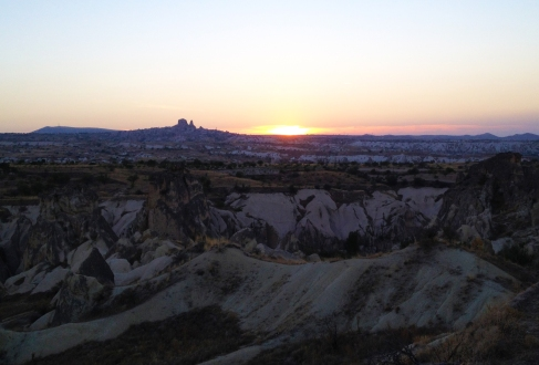 Watching the sun set in Cappadocia.