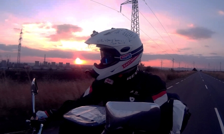 Riding towards the East with the sunset in my back. On my way to Burgas, Bulgaria