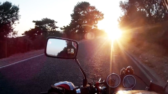 Riding towards the sun!